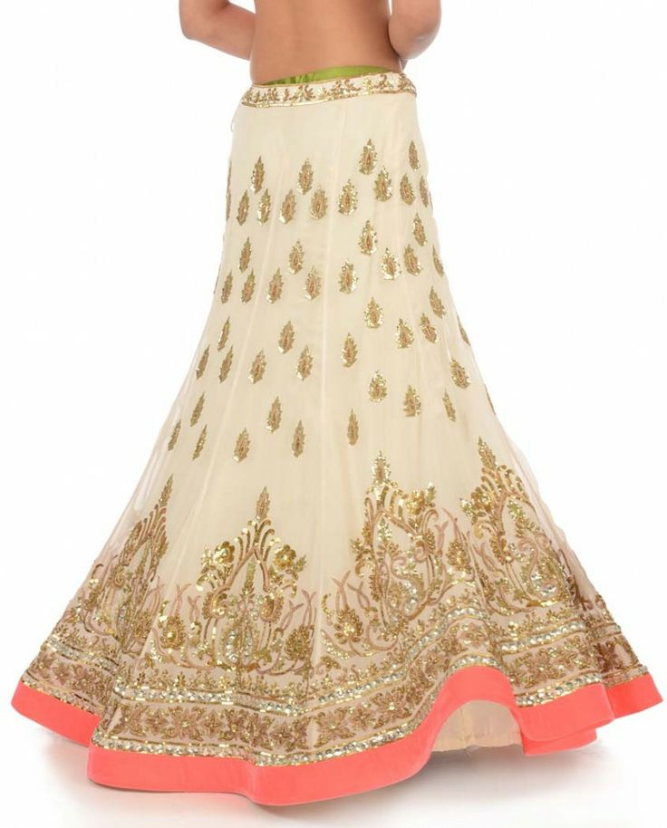 White Lengha Set with Embellished Motif - Lenghas - Engagement - Wedding