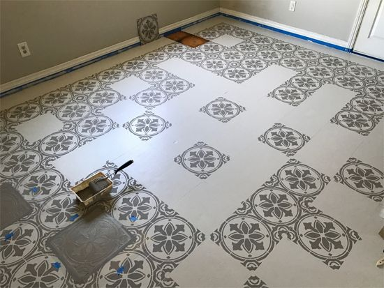 Jazz up an old kitchen floor with a tile stencil for Can linoleum be painted