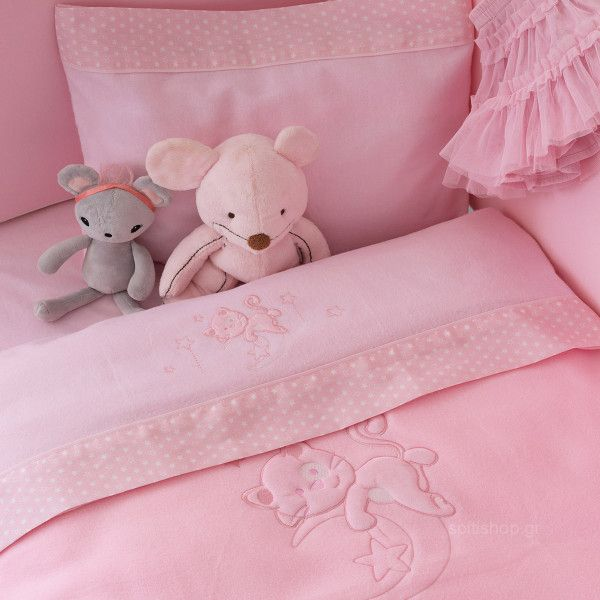 29c2b878785 Φανελένια Σεντόνια Κούνιας (Σετ) Palamaiki Baby Joia 562 Pink ...