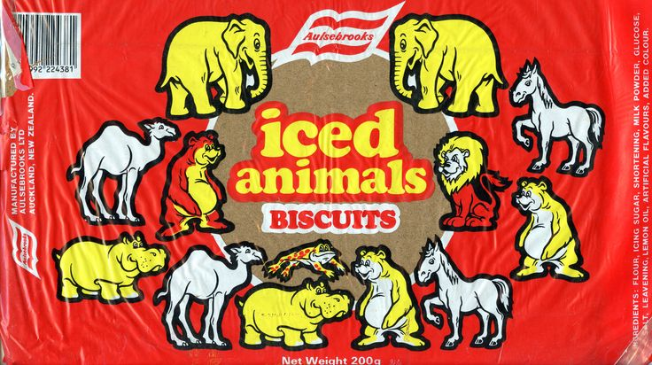 https://flic.kr/p/qRsdFz | img943 | Aulsebrook's Iced Animals wrap. c1987. At this stage, the biscuits were no longer embossed.They stopped embossing them when production moved from Christchurch to Auckland so they could ice them while still on the oven band just after discharge.