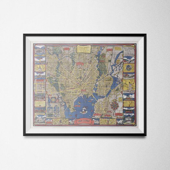 New Haven Connecticut Yale University Map Art Print Antique Wall Art Poster Wall Decor Home Decor