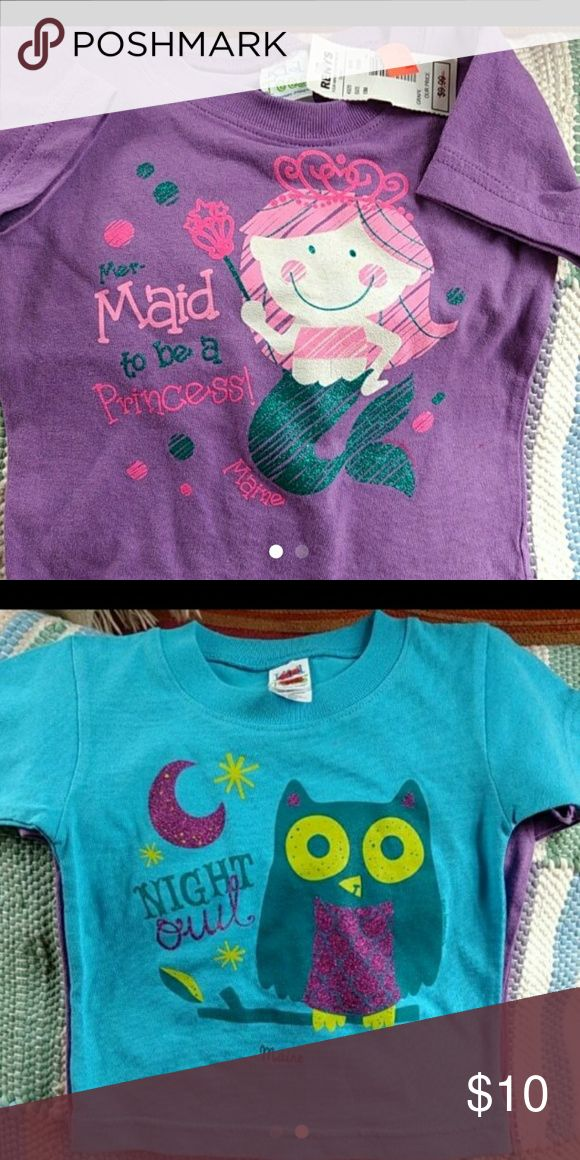 2- 18 month tees BNWT   For the sweet and wriggling lil mermaid in your life, this purple tee w non flaking sparkles in some of the writing will be the perfect fit for them. The second tee is of an owl, as we mother's know, those wriggling mermaids can also morph into alert night owls and hoot on... Shirts & Tops Tees - Short Sleeve