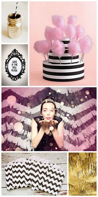 #pink #gold #black #white #party #inspiration board