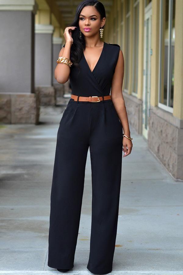adc0430138 ... Wide Leg Jumpsuit Black CasuaL Playsuit. B