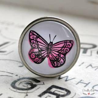 PINK BUTTERFLY Möbelknopf von Shabbyflair