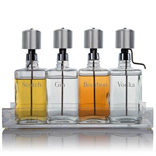 Liquor Decanter Bar Set With Chrome Pump Dispenser Acrylic Tray Contemporary