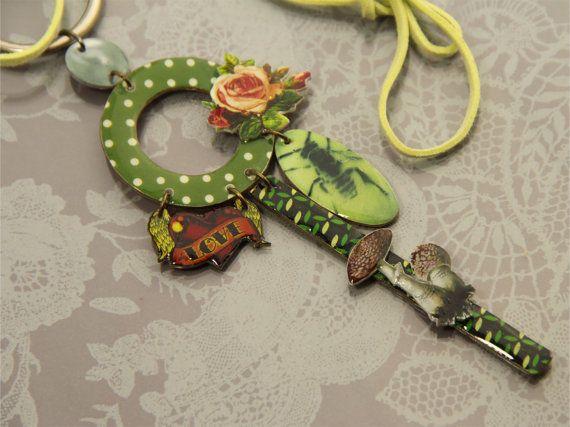 polka dot green pendant boho chic pendant with tattoo by gumcrack