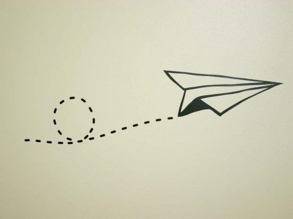 Zippy Black Paper Air plane wall sticker by MonkeyThreads on Etsy, $8.00