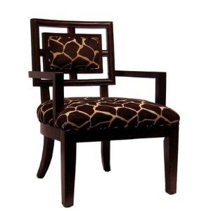 Cherry Frame Chair with Brown and Ivory Giraffe Fabric: Frames Chairs, Giraffes Prints, Ivory Giraffes, Cherries Frames, Arm Chairs, Royals Manufactured, Accent Chairs, Giraffes Fabrics, Side Chairs