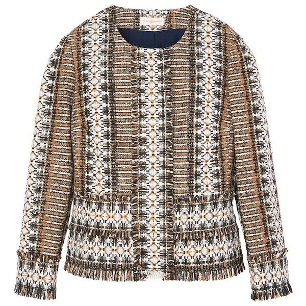 Tory Burch Jessica Jacket ($595) ❤ liked on Polyvore featuring outerwear, jackets, brown diamond fringe tweed, fringed tweed jacket, fringe blazer, stripe jacket, tweed blazers and collarless blazer