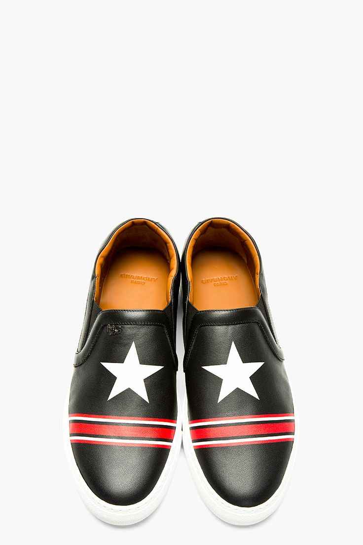 GIVENCHY Black & Red Leather STAR STRIPE Skate sneakers