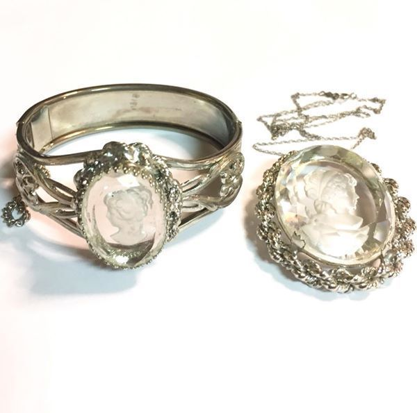 Vintage Silver Tone Glass Intaglio Cameo Bracelet and Pendant Set #Unbranded