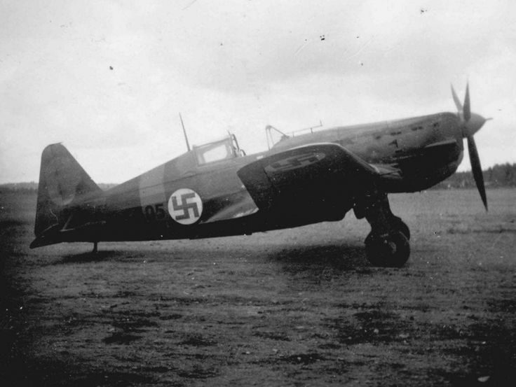 Finnish fighter Moran-Saulnier Ms.406 at the airport