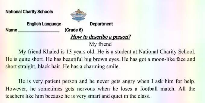 براجرافات انجليزي للصف السادس الفصل الدراسي الثالث 2019 13 Year Olds School Language