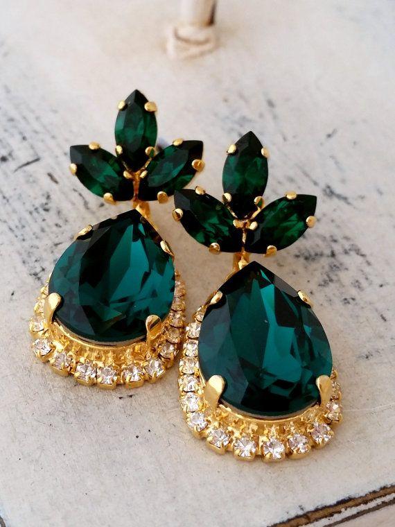 Emerald green crystal Chandelier earrings | Emerald Drop earrings