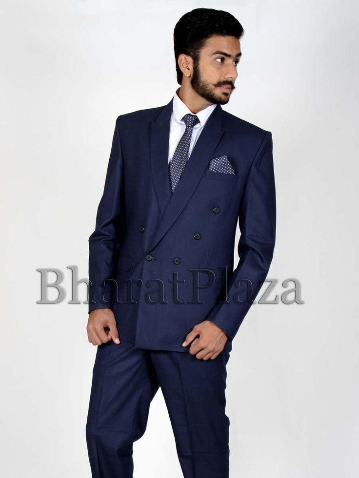 Pleasing navy blue color peak lapel polyester #blazer with molded buttons. Item Code: TSP702A http://www.bharatplaza.com/new-arrivals/mens-suits.html