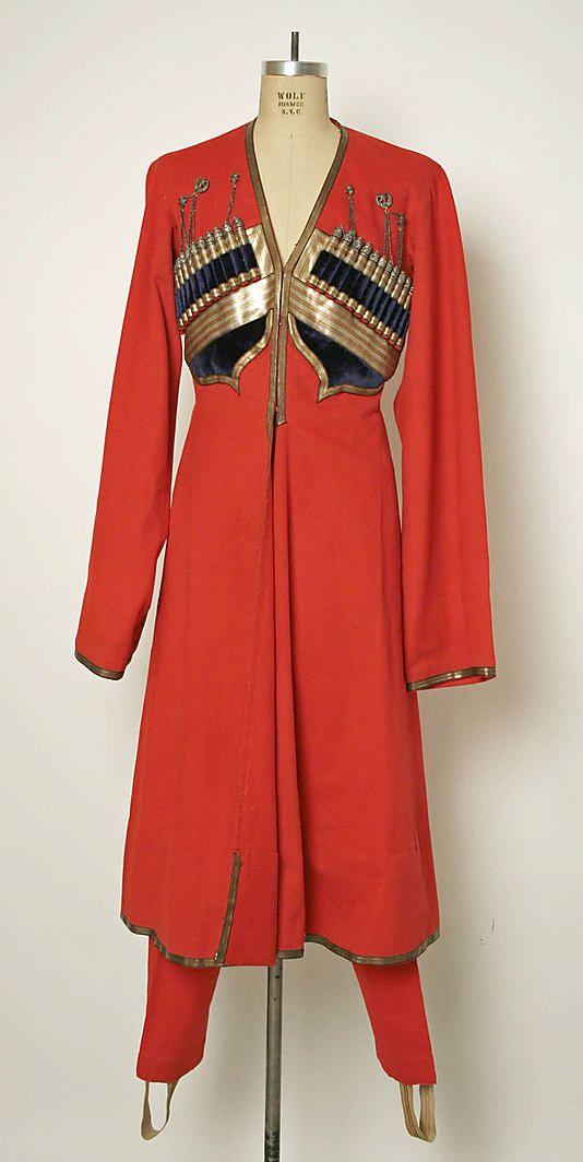 Very deco / Erté / Poiret   .....  Military uniform Date: 1700–1913 Culture: Russian Medium: wool, cotton, metallic thread, silver, leather, fur, metal