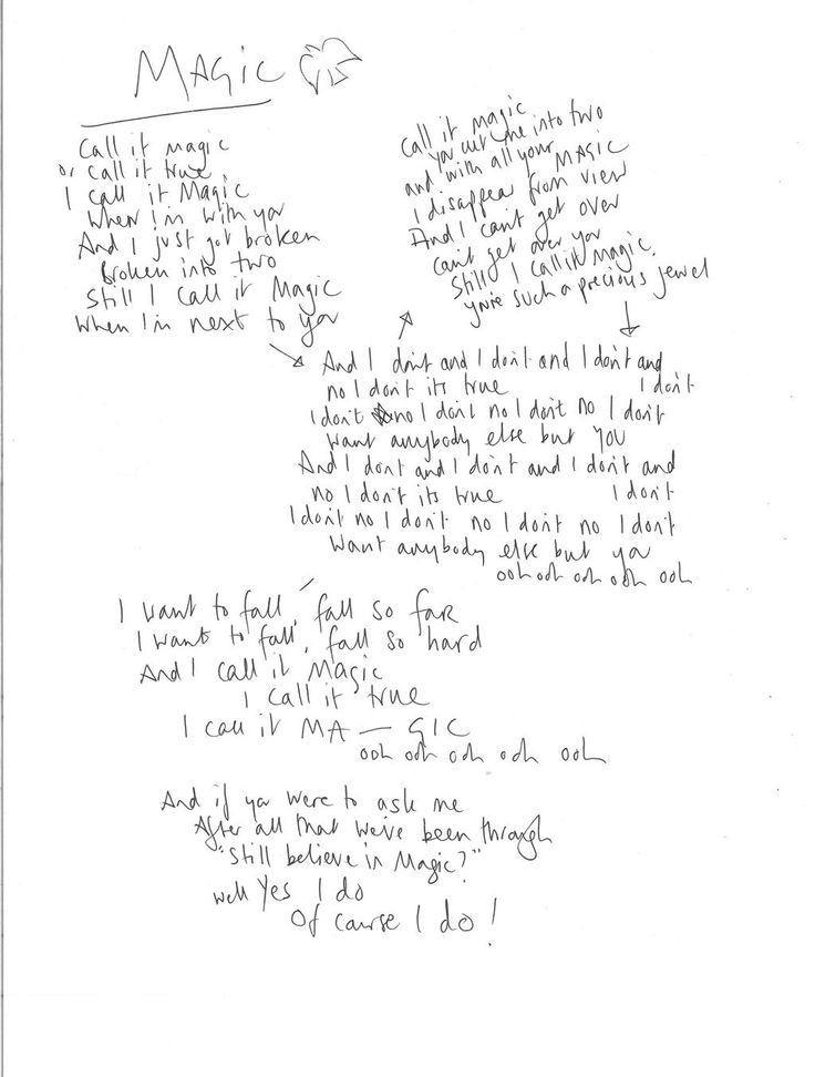 Chris's handwritten Magic lyrics