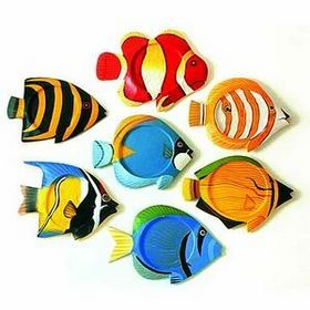 Tropical Fish Coasters The right setting for those tropical drinks. Hand-crafted from wood and painted in an assortment of colorful fish designs. #timelesstreasure