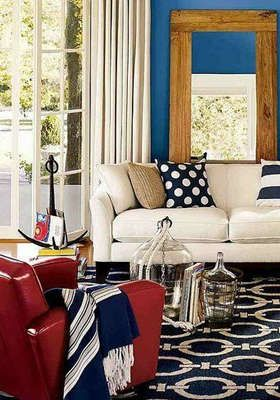 Decorating With Color: Red, White And Blue   A Blue Chain Link Patterned  Rug Anchors The Sitting Area In This Red, White And Blue Living Room.