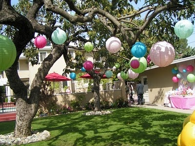 Brighten Your Backyard Easter Party With Colorful Globes Strung From Trees Pergolas Or Shrubs