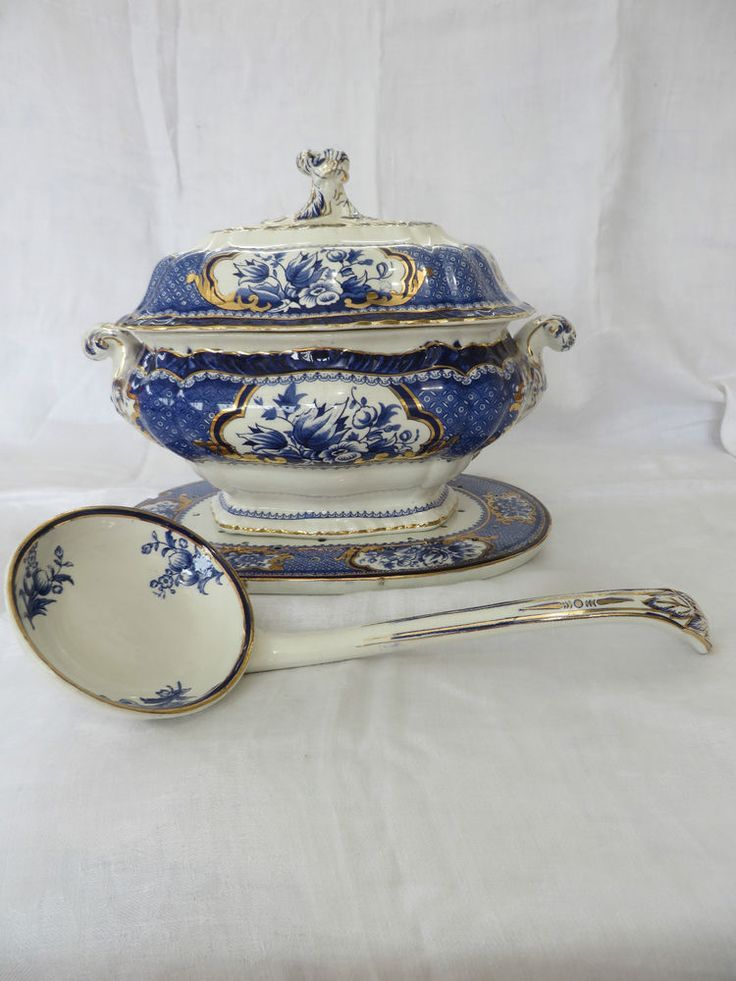 Booths Victoria China-large soup/pasta tureen, stand & matching china ladle