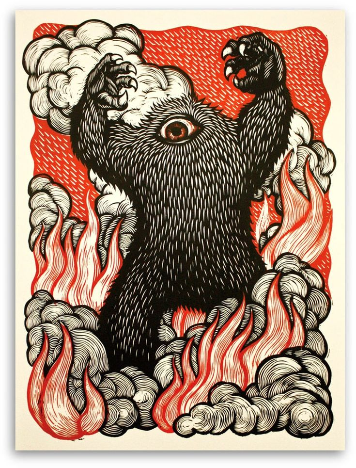 Peter Nevins ~ A MONSTER IS BORN! ~ Woodcut, 18 x 24 inch