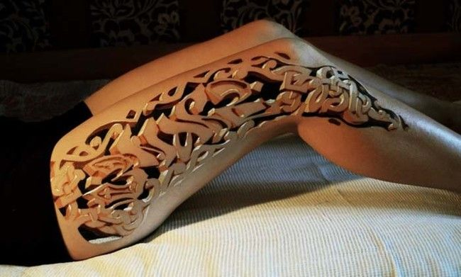 3-D optical illusion tattoos are striking.
