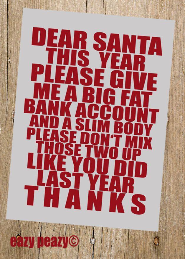 "Weihnachts-Postkarte ""Dear Santa"" // christmas postcard via DaWanda.com"
