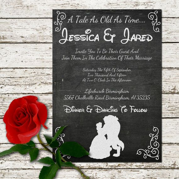 Beauty and the Beast Wedding Invitation Printable Chalkboard - announcement disney princess print be our guest