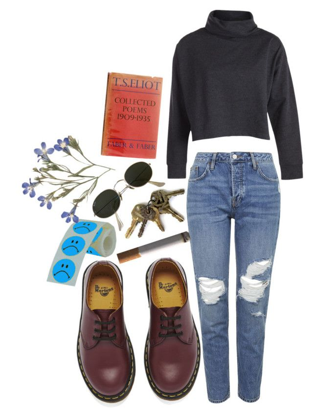 """""""oh"""" by imagicality ❤ liked on Polyvore featuring Dr. Martens, Pieces, Topshop and Ray-Ban"""