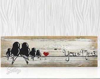 Panneau De Bois Famille Oiseau 5e Anniversaire Cadeau