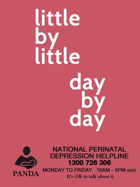Little by little, day by day is all your recovery journey needs to be. Be kind to yourself and be proud of all your achievements. No matter how big or small. If you are doing the best you can then that is enough. Some days are harder than other s if you need to talk to someone contact PANDA's National Perinatal Depression Helpline 1300726306 Monday to Friday 10am to 5pm AEST. #talkinghelps