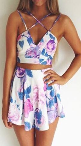 Multi Spaghetti Strap Floral Crop Top With Matching Skirt. I love the way the straps crisscross