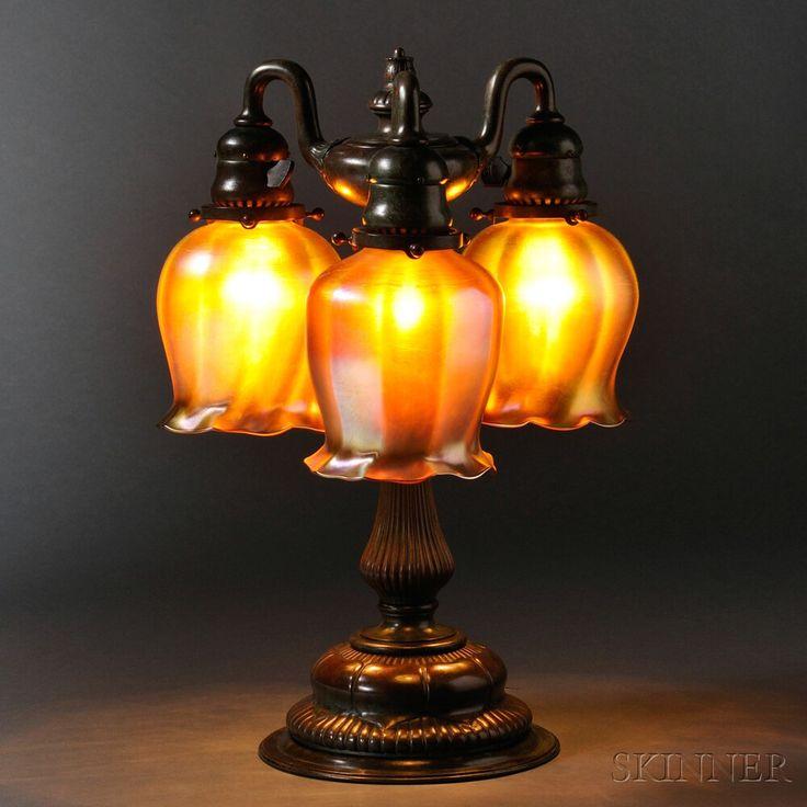 Tiffany Studios Three-light Table Lamp  Bronze, art glass  New York, early 20th century, base attributed to model 309