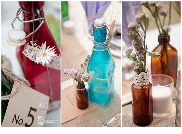 Wedding Decor - Colored little bottles for romantic rustic weddings