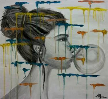 "Saatchi Art Artist Andreea Oprisan; Painting, ""Bubble Gum"" #art #painting #bubblegum"