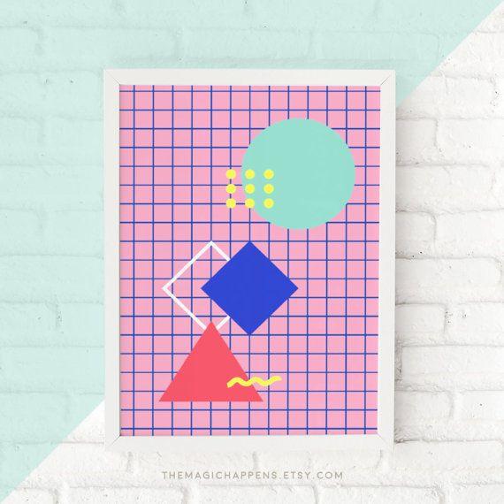 Memphis Style Wall Art Circle Triangle Geometric Art Prints