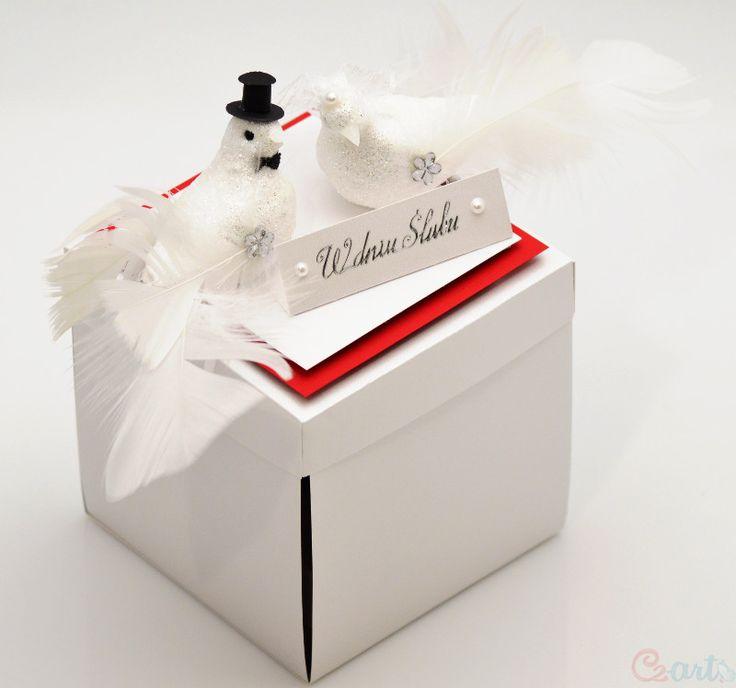 Kartka Ślubna pudełko zakochane gołąbki Cz-art Laboratorium kreatywności