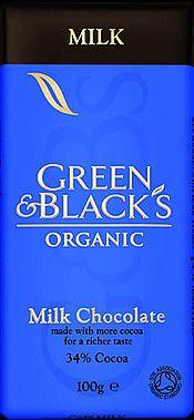 Ljuvligt god mjölkchoklad med 34% kakao, Green & Black´s. 35 kr i webshop & butik!