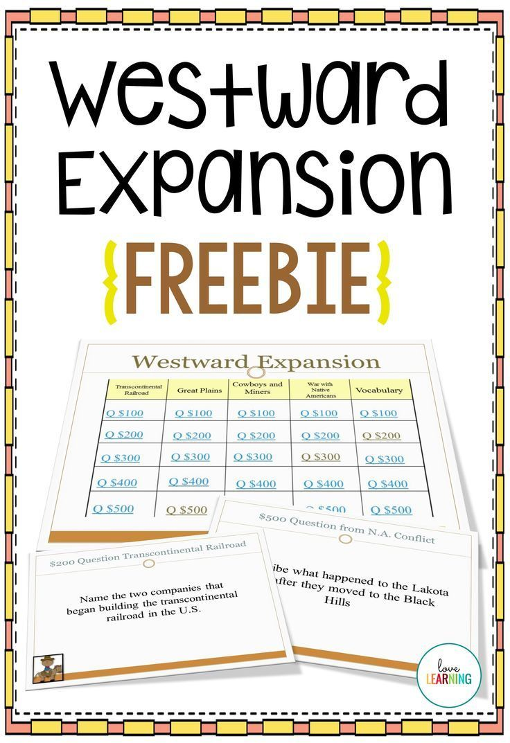 This {F R E E} Westward Expansion Review game is a fun way to review  content that. Us HistoryHistory ...