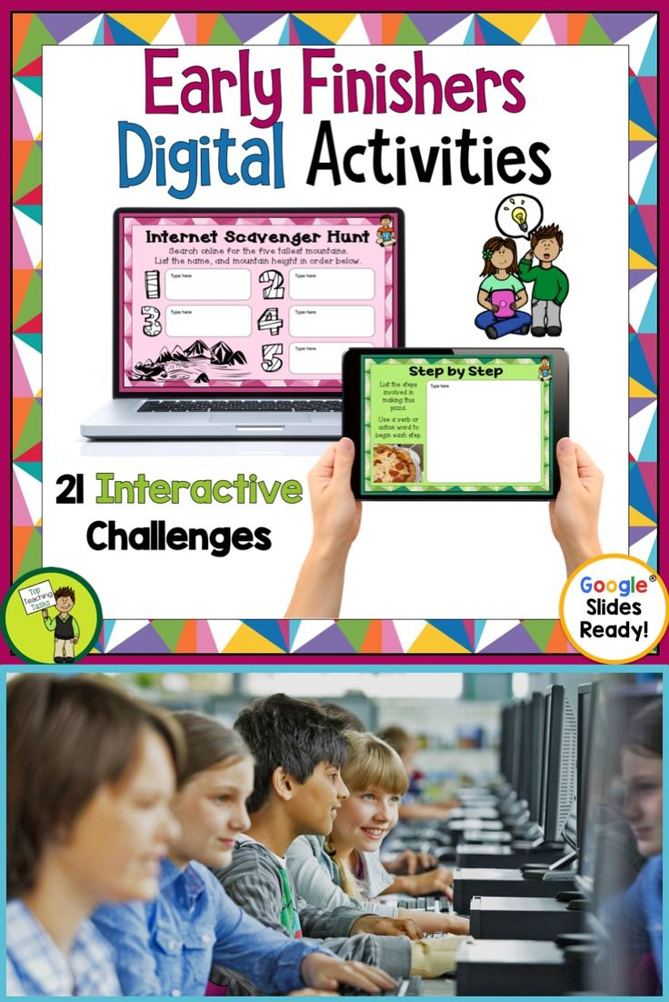 Early Finisher Digital Task Cards. Go paperless with our Google Slides-ready Early Finisher resource! 21 interactive slides. Educational Technology. Mobile Learning. Google Resource. Digital Classroom. They are great for early finishers, bell ringer activities, or homework. Research and planning skills, sequencing and cause and effect are included.   #DigitalClassroom #EarlyFinishers #GoogleSlidesEarlyFinishers