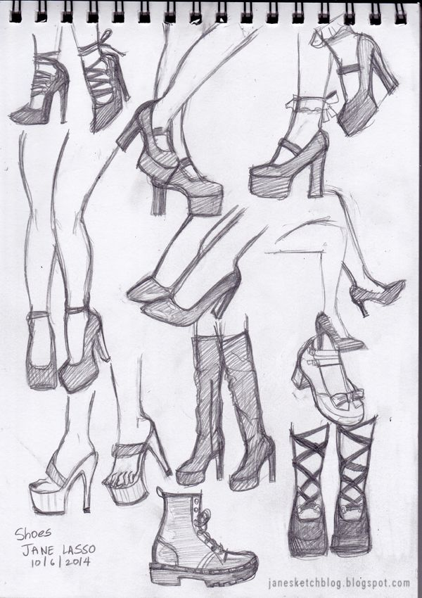 Dibujos de zapatos a lápiz . Pencil drawing of shoes. #shoes #drawing #pencil