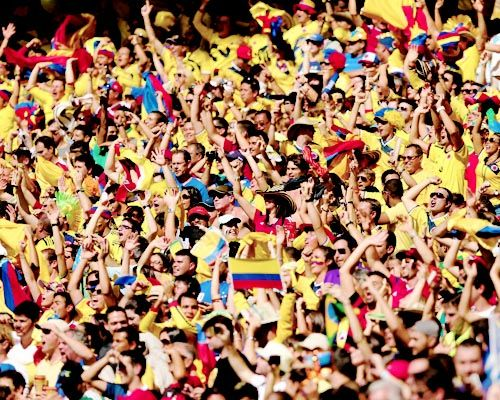 The World cup / Colombia fans cheer during the 2014 FIFA World Cup Brazil Group C match between Colombia and Greece at Estadio Mineirao on June 14, 2014 in Belo Horizonte, Brazil.