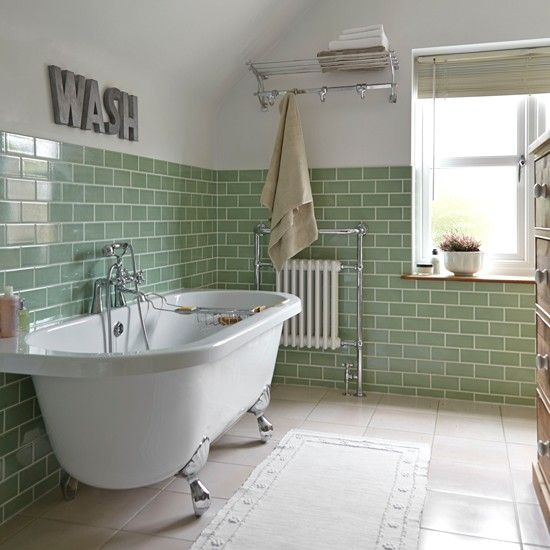 Bathroom with bird wallpaper and yellow flooring | Traditional bathroom design ideas | housetohome.co.uk