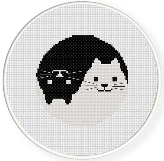 FREE for Feb 20th 2015 Only - Yin Yang Cat Cross Stitch Pattern