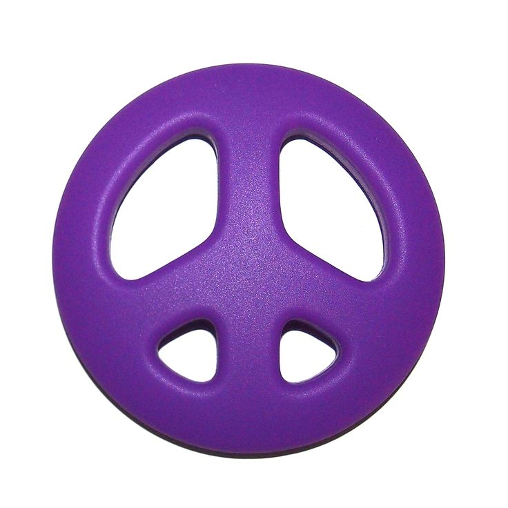 """""""The Art of CureTM Organic Teething Silicone Purple """"""""Peace Sign"""""""" Baby BPA Free"""