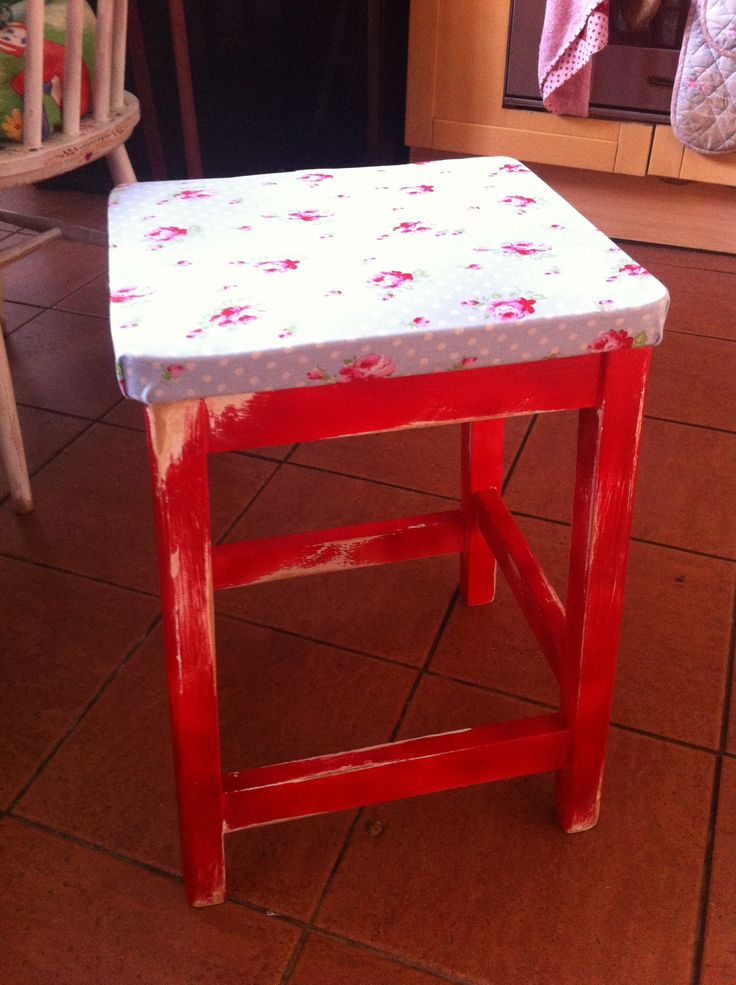 Second hand stool from junk shop. Up cycled. Just love it. This one was to keep