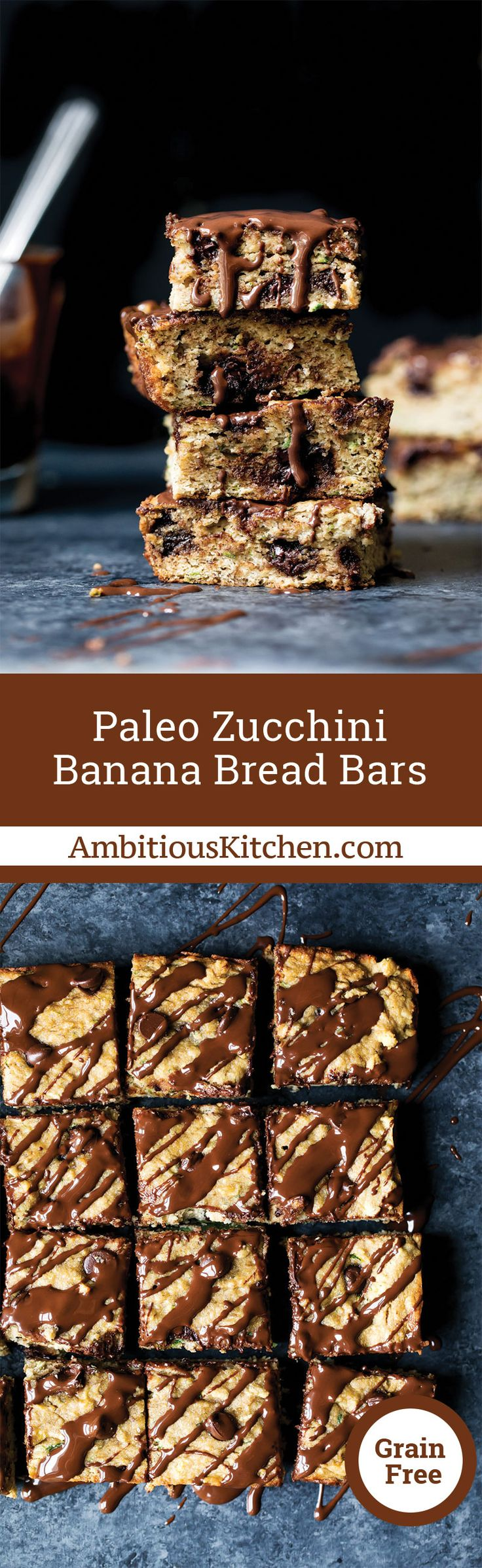 Paleo Zucchini Banana Bread Bars with chocolate chips are the BEST way to enjoy a healthier treat when you have a sweet tooth. They also make a great snack since they're packed with fiber and protein.