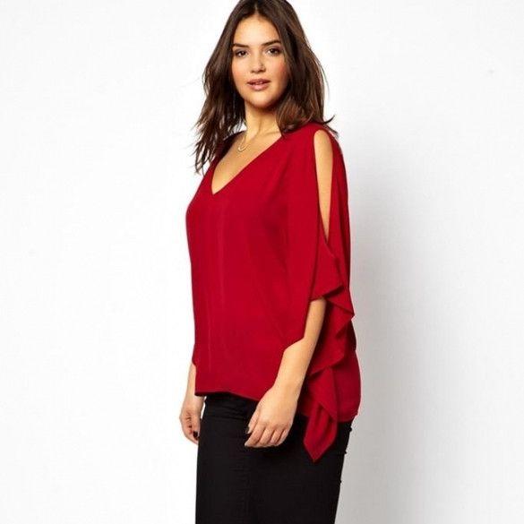 Stylish Lady Womens Casual Sexy Women V-Neck Plus Size Batwing Sleeve Blouse Chiffon T-Shirt Top